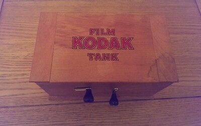 Antique / Vintage Eastman Kodak Brownie film tank  Model B Wooden + Contents