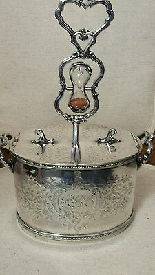 Antique silverplate egg  coddler with timer