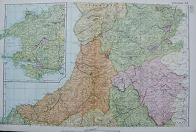 1906 Large Map Counties Railways Wales Central Aberystwith Montgomery