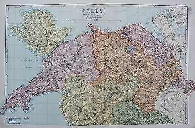 1906 Large Map Counties Railways Wales North Anglesey Barmouth Wrexham