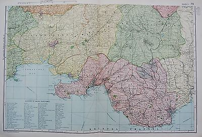 1906 Large Map Counties Railways Wales South Carmathen Brecknock Cardiff