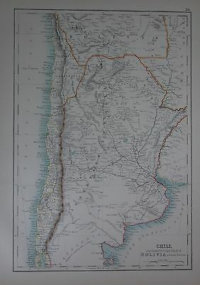 1897 Chile Argentina And Bolivia (South) Large Map