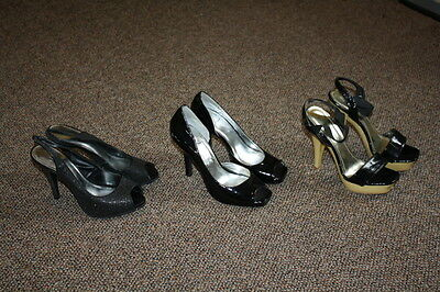 Lot of 3 Pairs of Women's Sz 7-7.5 Black Stiletto High Heels Pumps Toe Strap 21