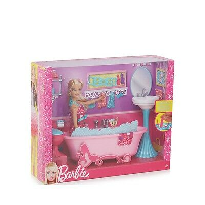 BARBIE GLAM BATHROOM PLAYSET DOLL BATH TOILET SINK SET *NEW-Damaged box