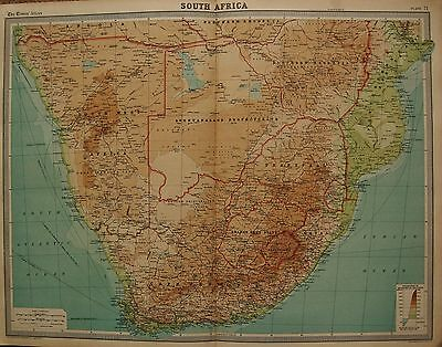 1920  Large  Map : South Africa Bechuanaland, Rhodesia