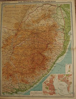 1920  LARGE  MAP : CAPE PROVINCE, TRANSVAAL &c  EASTERN SECTION