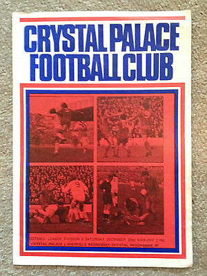 Crystal Palace v Sheffield Wednesday Official Programme - Division 2