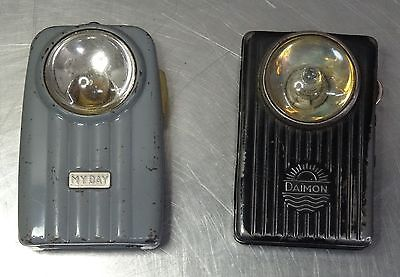 2 x Antike flache Taschenlampe pocket light vintage flashlight Daimon u. My Day