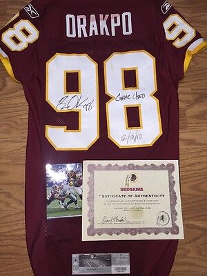 Brian Orakpo 2010 Game Worn Used Redskins Jersey Photo Matched Unwashed COA