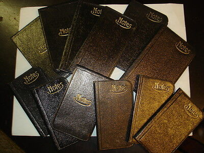 12 German marked NOTES black pocket size blank antique books