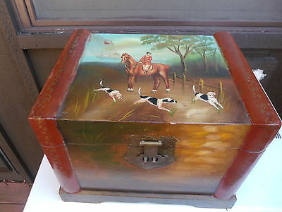 ANTIQUE Fox Hunting Hand Painted Scene on Wooden horse box english tack