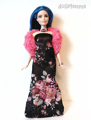 CURVY BARBIE DOLL CLOTHES Boa, Sexy Gown & Jewelry Set Fashion NO DOLL d4e