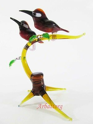 Blown Glass RUSSIAN MURANO. Figurine Handmade birds Woodpeckers on a branch #31