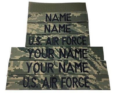3 piece ABU Custom Name & US Air Force Tape set, with Fastener or Sew-On, USAF