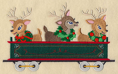 Embroidered  christmas reindeer train  quilt block,fabric,cushion panel,
