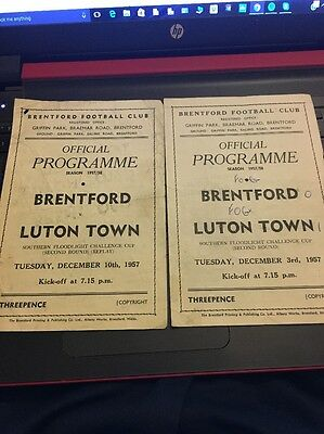 Brentford V Luton Town Southern Floodlight Challenge Cup 2Nd Round + Replay 1957