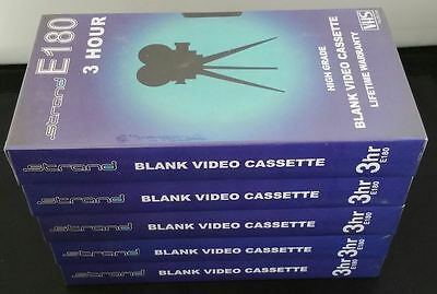 New Sealed VHS Bundle 5 Blank Recording Tapes E180 3 Hour Video Cassette