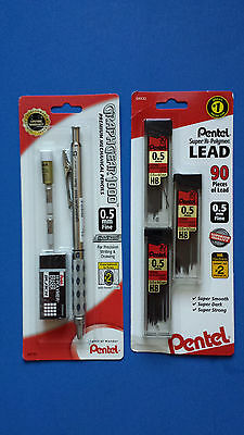 NEW!  Pentel GraphGear 1000  Mechanical Pencil 0.5mm Pencil & Erasers + 90 leads