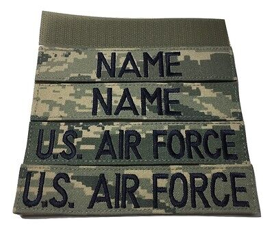 4 piece ABU Custom Name & US Air Force Tape set, with Fastener - USAF Military