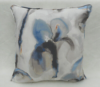 Zoffany Fabric Cushion Cover 'Water Iris' Ink/Charcoal 100% Linen - Eco Fabrics