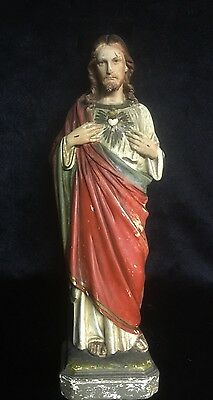 stunning Antique French Statue Of sacred Heart Christ Madonna , Jesus , Crucifix