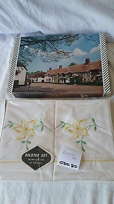 Vintage Embroidered Set of Two White Pillow Cases and One Plain Bolster NiB
