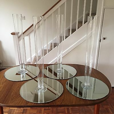 4 X 80cm Tall Glass Vases & 50cm Mirror Bases - Wedding / Function Table Centres