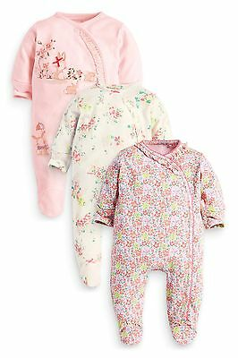 ••ВNWT NEXT Baby Girls' • Floral Bunny Sleepsuits 3pk • 100% Cotton • 0-3 Months