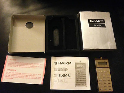 "Sharp Elsi-Mate ""hang A Round"" El-8061 Calculator Rare Vintage"