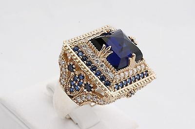 Turkish Jewelry Ottoman Square Sapphire Topaz 925 Sterling Silver Ring Size 10