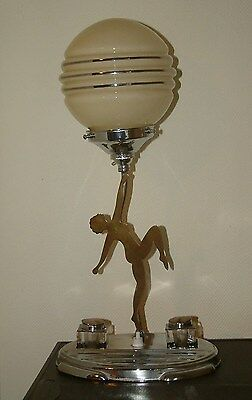 Super Chrome/brass 2 D Lady Desk Pen & Ink Stand Art Deco Lamp Lampe Great Shade