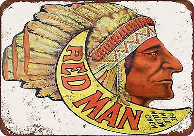 """Red Man Chewing Tobacco 10"""" x 7"""" Reproduction Metal Sign"""