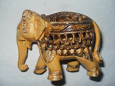 Hand Carved Wooden Elephant Figurine from India with Baby Elephant inside