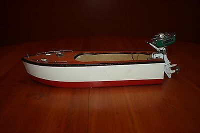 Vintage Toy Wooden Boat & Battery Operated WIC Western Import DC Outboard Motor