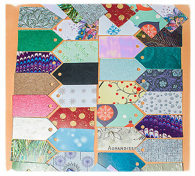 15 diecut hand crafted labels Large Medium Small many colours patterns gift tags