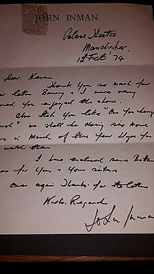 Original John Inman Autograph Hand Written Letter Are You Being Served