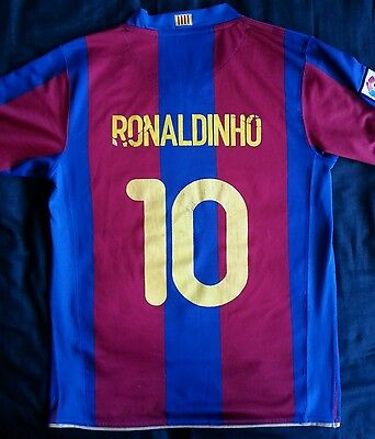 Nike Barcelona football shirt Ronaldinho 10 Large camp nou 2007
