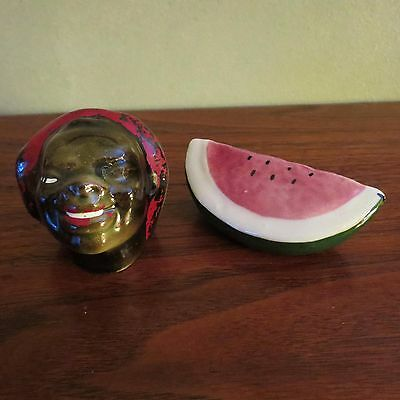 1950's Americana Black Woman with watermelon Salt and Pepper Shaker