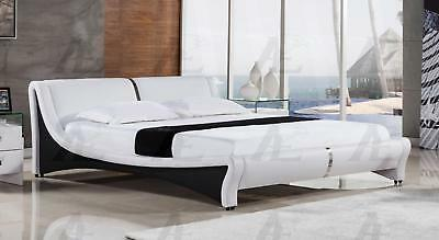 American Eagle B-D039 White PU California King Size Platform Bed