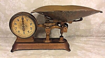 Vintage Jacobs Bros Co Double Faced Scale Cast Iron w/ Brass Pan New York