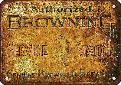 """Authorized Browning Service Station 10"""" x 7"""" Reproduction Metal Sign"""