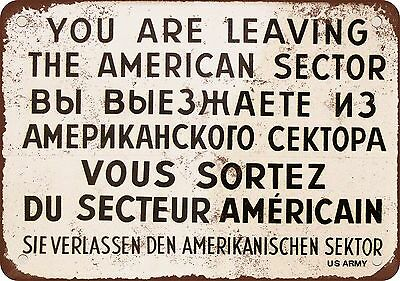 """1962 Checkpoint Charlie Berlin Wall 10"""" x 7"""" Reproduction Metal Sign"""