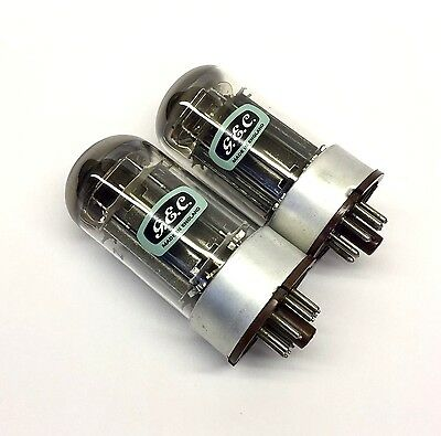 "6080  CV2984 Perfect Matched Pair Double ""DD"" Getter NOS GEC  UK Valve Tubes"