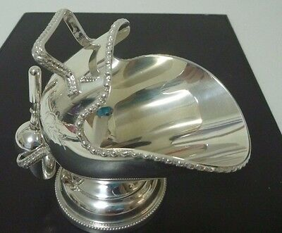 VINTAGE ENGLISH SILVER PLATED HAND ENGRAVED SUGAR SCUTTLE and scoop VGC