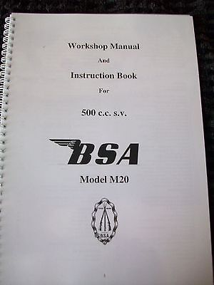 BSA M20 MOTORCYCLE INSTRUCTION AND WORKSHOP MANUAL 48 A4 Pages Collectors Owners