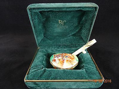 Very Rare Limoges Rochard Hand Painted Cat Pill Box with Certificate 36/200