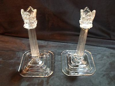 Fancy Art Deco Reeded Column Capitol And Crown 8 3/8 Thick Glass Candlesticks