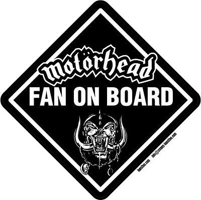 Motorhead Fan on Board vinyl window sticker 14cm Lemmy metal ace of spades
