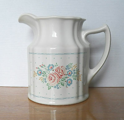 """Pitcher In White With Pink Carnations & Blue Morning Glories Flowers """"furnival""""?"""