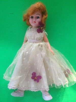 VINTAGE c. 1960-1970'S DOLL WITH RED HAIR & YELLOW DRESS